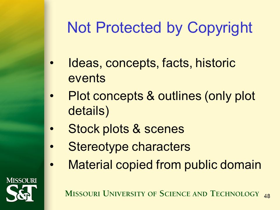 48 Not Protected by Copyright Ideas, concepts, facts, historic events Plot concepts & outlines (only plot details) Stock plots & scenes Stereotype cha