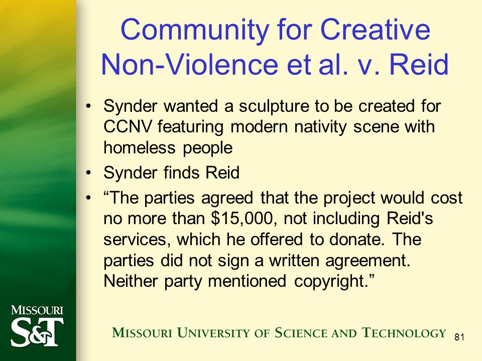 Community for Creative Non-Violence et al. v. Reid Synder wanted a sculpture to be created for CCNV featuring modern nativity scene with homeless peop