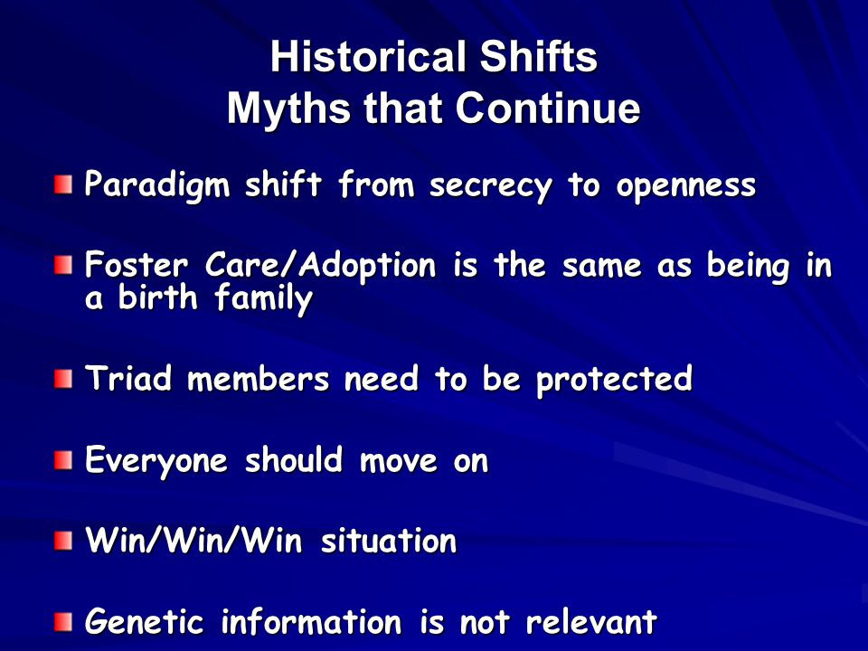 Historical Shifts Myths that Continue Paradigm shift from secrecy to openness Foster Care/Adoption is the same as being in a birth family Triad members need to be protected Everyone should move on Win/Win/Win situation Genetic information is not relevant