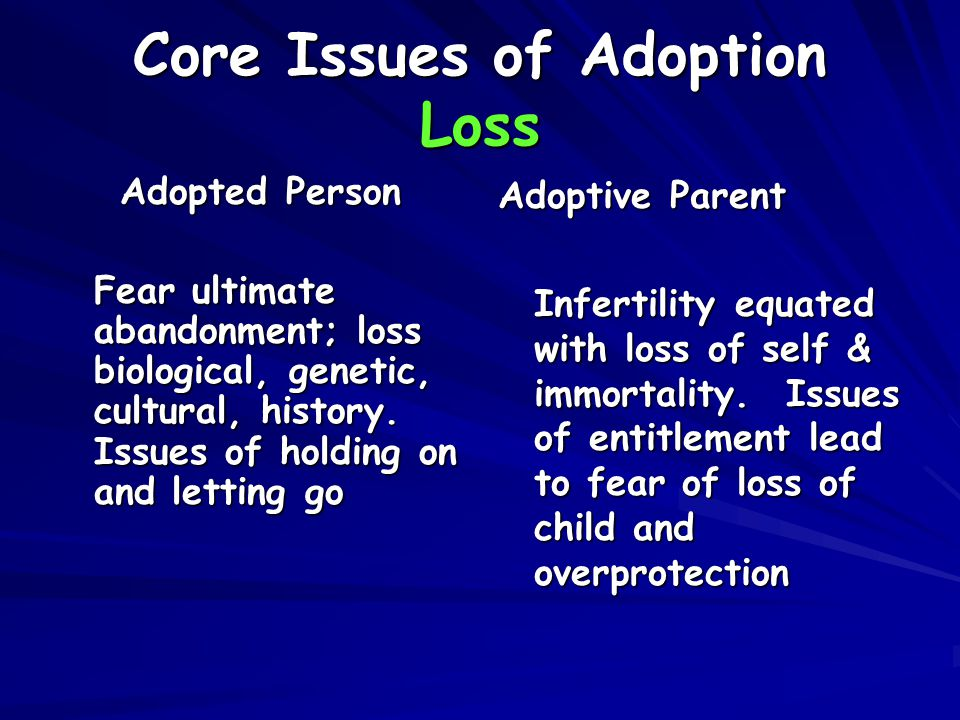 Core Issues of Adoption Loss Adopted Person Fear ultimate abandonment; loss biological, genetic, cultural, history.