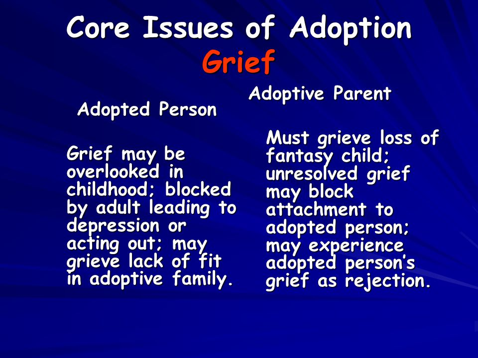 Core Issues of Adoption Grief Adopted Person Grief may be overlooked in childhood; blocked by adult leading to depression or acting out; may grieve lack of fit in adoptive family.