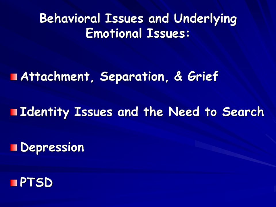 Behavioral Issues and Underlying Emotional Issues: Attachment, Separation, & Grief Identity Issues and the Need to Search DepressionPTSD