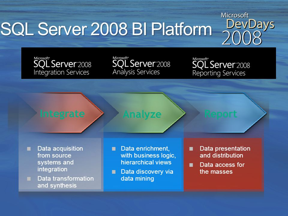 Data Platform Information Worker Platform Microsoft BI Platform Enterprise Grade Pervasive Integrated Flexible Full Featured Interoperable Extensible