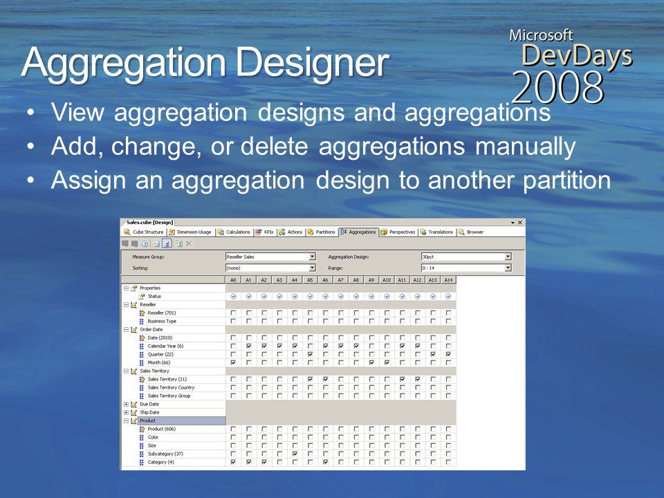 Aggregation Design Wizard Improvements Ability to review and modify aggregation usage settings Name the aggregation design