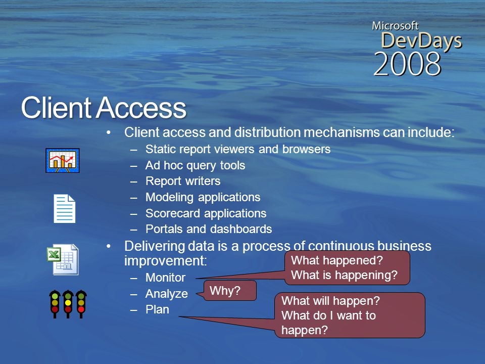 Analytical Systems Multidimensional databases are also called online analytical processing (OLAP) databases and… –Contain structures optimized for rapid ad hoc information retrieval –Pre-calculate and store aggregated values –Include calculation engines for fast, flexible transformation of base data –Are designed to reveal business trends and statistics not directly visible in the data retrieved from a data warehouse Data mining models discover patterns in data, typically for prediction analysis Sales Finance Product Association