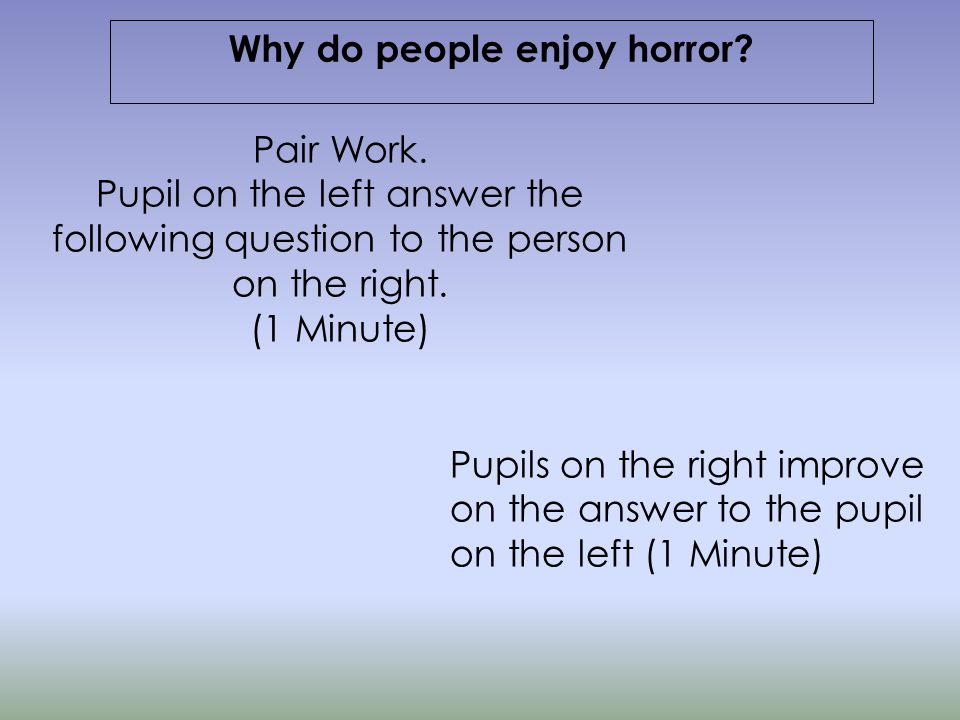 Lesson One Introducing the Horror Genre and haunted house description Learning Objectives: Introducing the Horror Genre and investigating conventions Stilling Exercise: Description of a Haunted Mansion