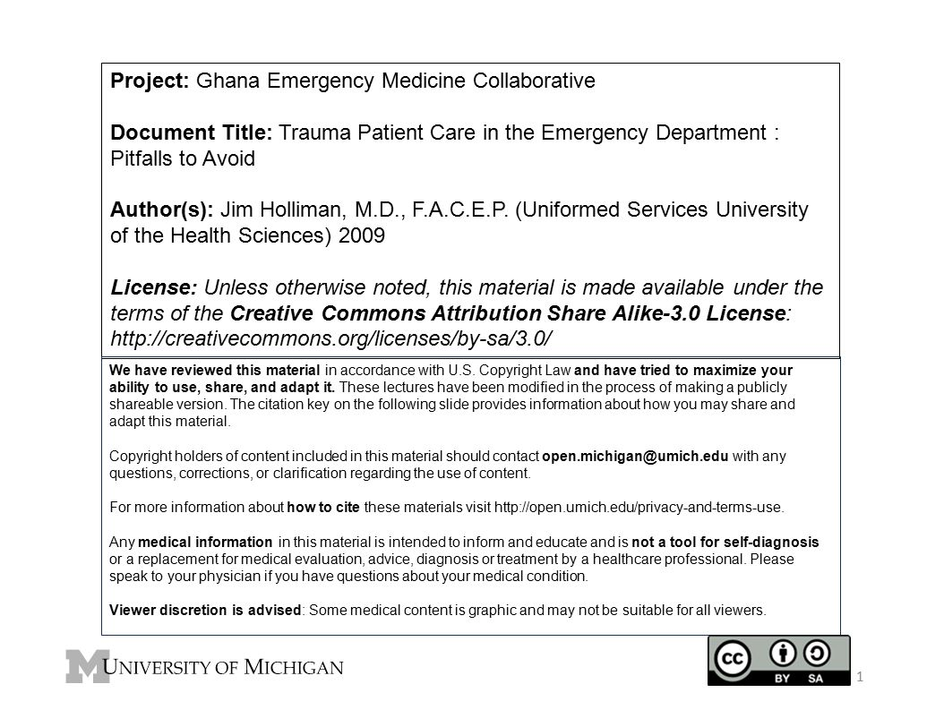 Project: Ghana Emergency Medicine Collaborative Document Title: Trauma Patient Care in the Emergency Department : Pitfalls to Avoid Author(s): Jim Hol