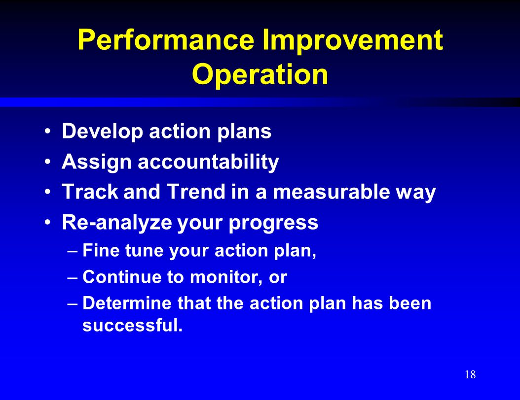 Performance Improvement Operation Develop action plans Assign accountability Track and Trend in a measurable way Re-analyze your progress –Fine tune y