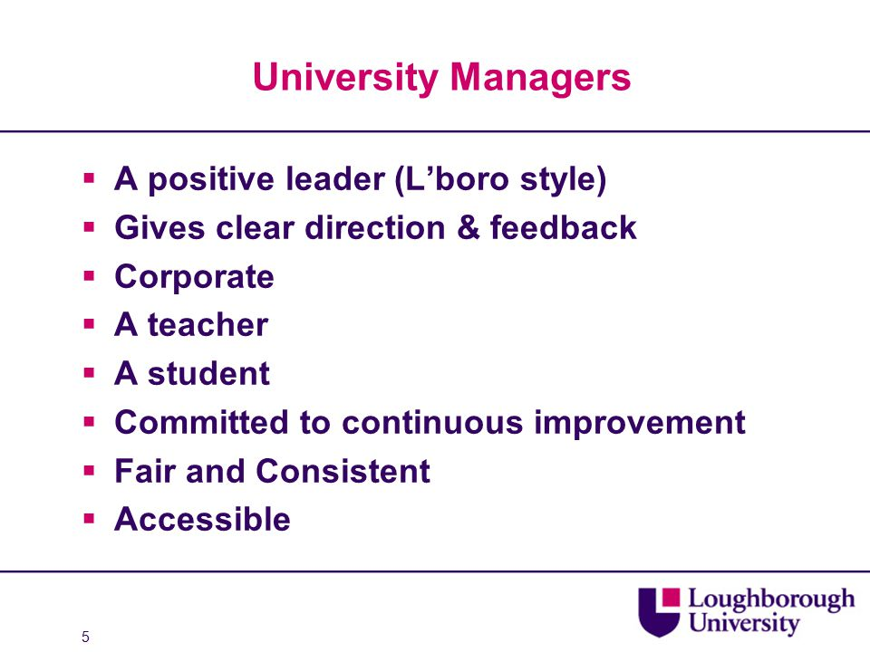 University Managers  A positive leader (L'boro style)  Gives clear direction & feedback  Corporate  A teacher  A student  Committed to continuous improvement  Fair and Consistent  Accessible 5