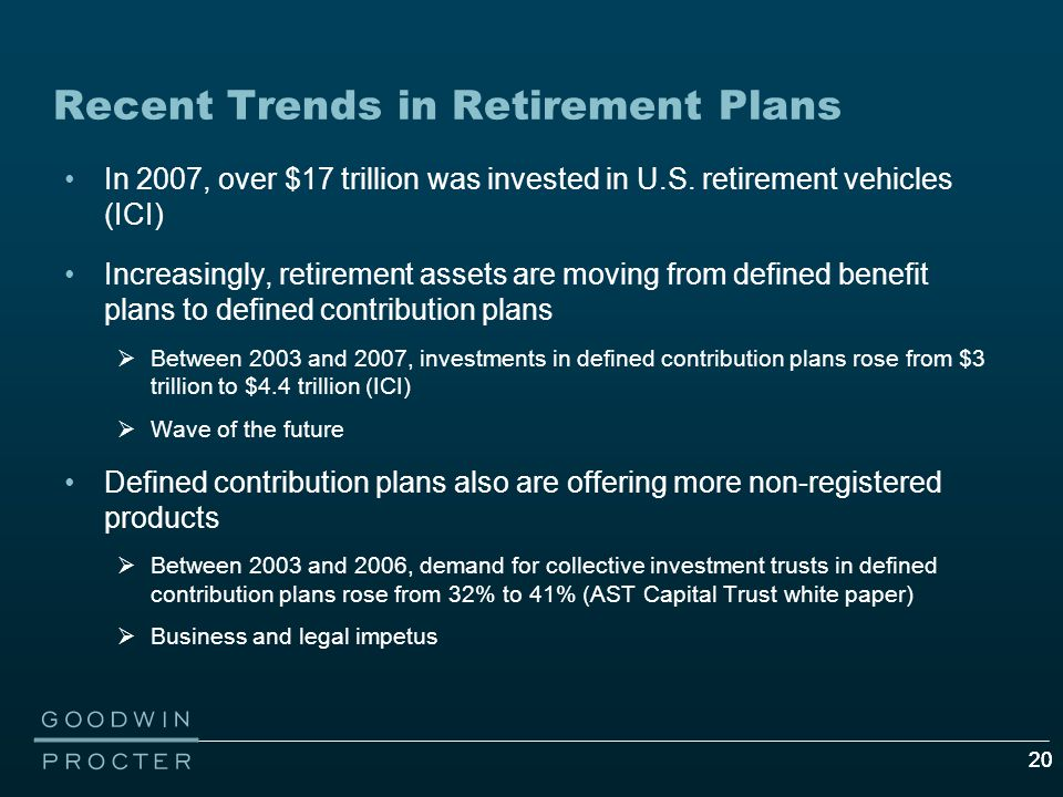 20 Recent Trends in Retirement Plans In 2007, over $17 trillion was invested in U.S.