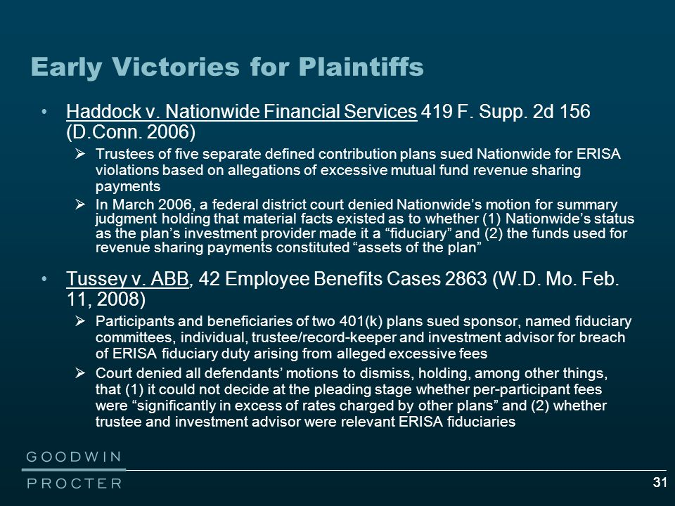31 Early Victories for Plaintiffs Haddock v. Nationwide Financial Services 419 F.