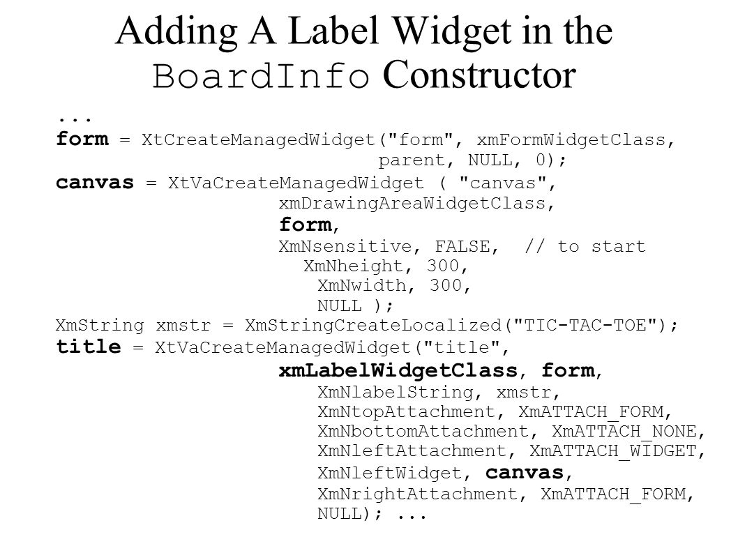 Adding A Label Widget in the BoardInfo Constructor...