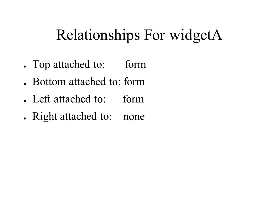Relationships For widgetB ● Top attached to: form ● Bottom attached to: widgetC ● Left attached to: widgetA ● Right attached to: widgetD