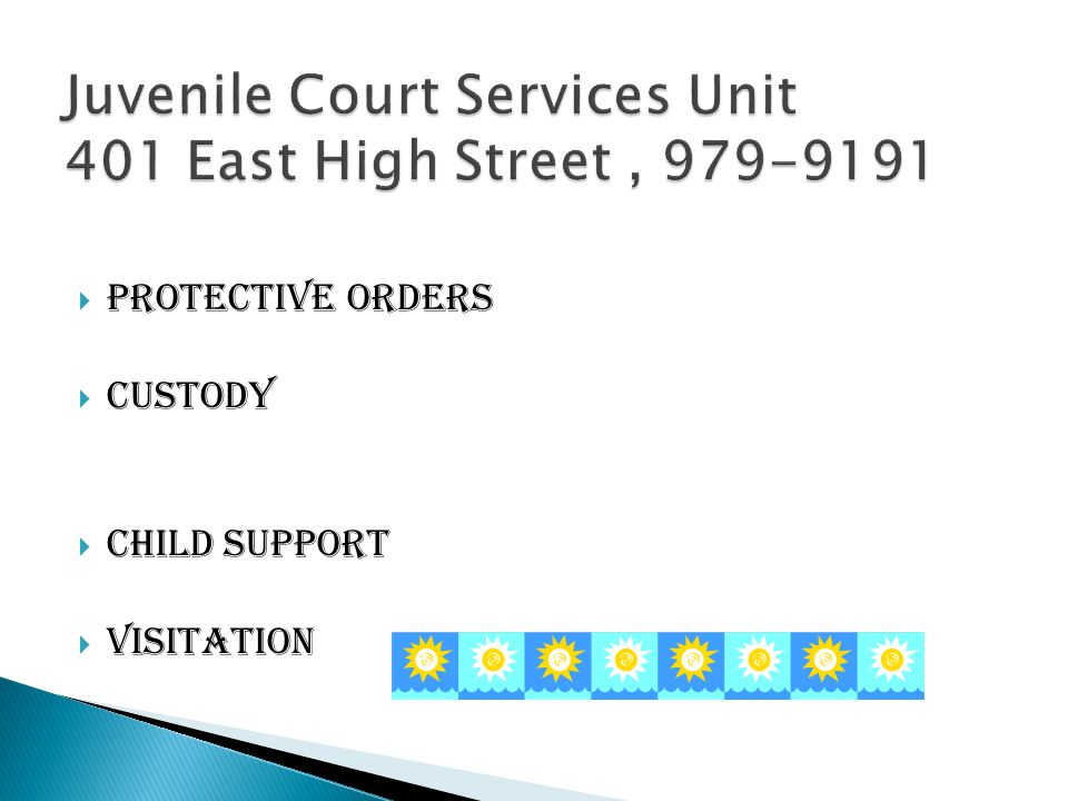  Protective orders  Custody  Child support  visitation