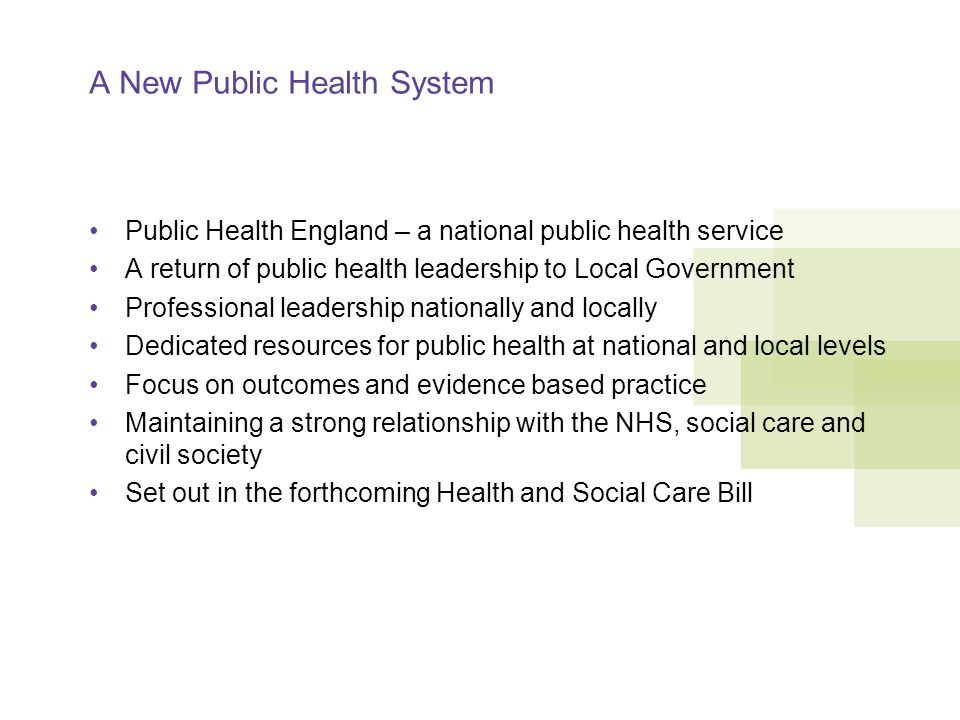 A New Public Health System Public Health England – a national public health service A return of public health leadership to Local Government Professional leadership nationally and locally Dedicated resources for public health at national and local levels Focus on outcomes and evidence based practice Maintaining a strong relationship with the NHS, social care and civil society Set out in the forthcoming Health and Social Care Bill
