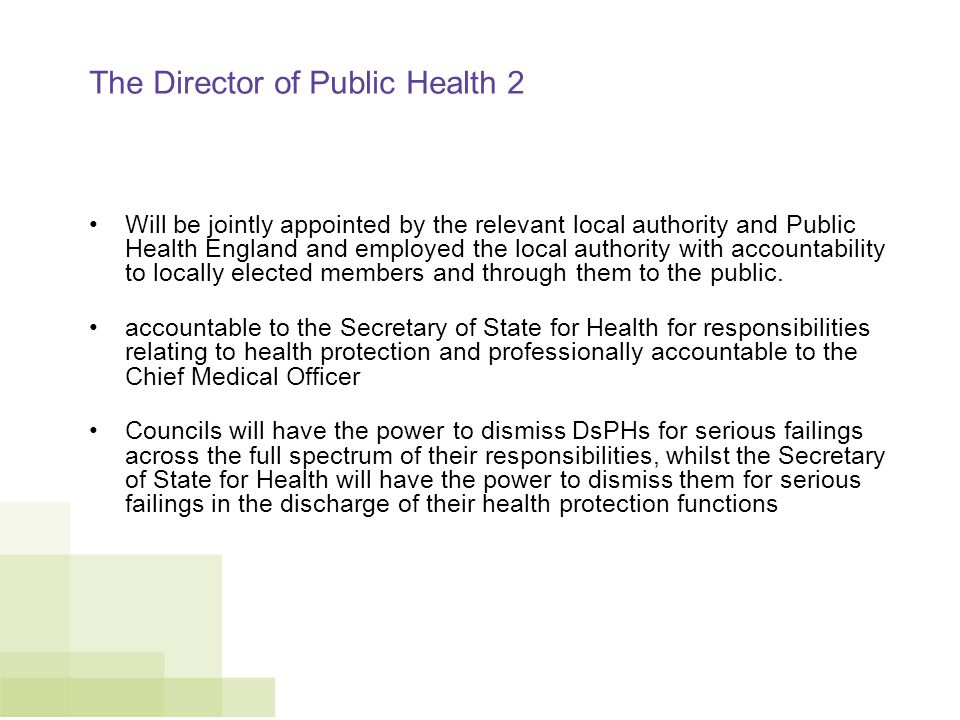 The Director of Public Health 2 Will be jointly appointed by the relevant local authority and Public Health England and employed the local authority with accountability to locally elected members and through them to the public.