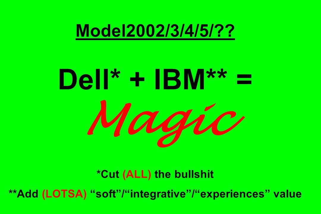 "Model2002/3/4/5/?? Dell* + IBM** = Magic *Cut (ALL) the bullshit **Add (LOTSA) ""soft""/""integrative""/""experiences"" value"