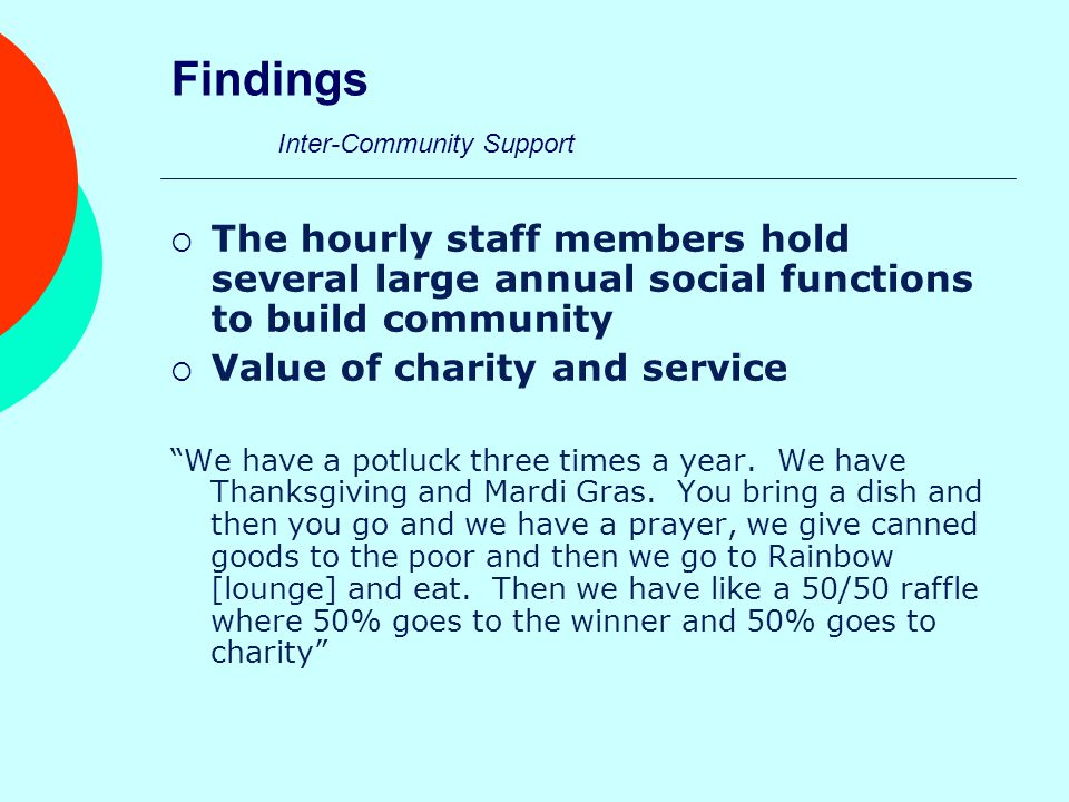 Findings Inter-Community Support  The hourly staff members hold several large annual social functions to build community  Value of charity and service We have a potluck three times a year.