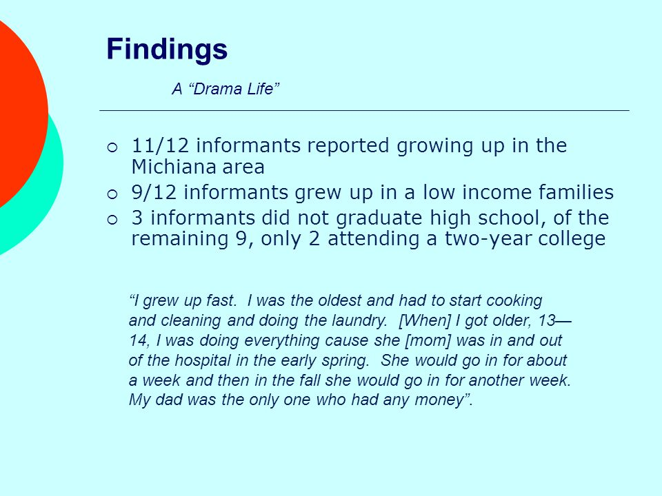 Findings Overworked and Under Paid  Nine informants were referred to college by friend or family member  All twelve informants appreciate Saint Mary's College benefits but agree that they should be getting paid more  Heavy work load I don't want to make forty dollars more a month if when the new building comes we have to run on two people and pull people from where.