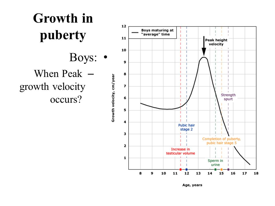 Growth in puberty Boys: – When Peak growth velocity occurs?