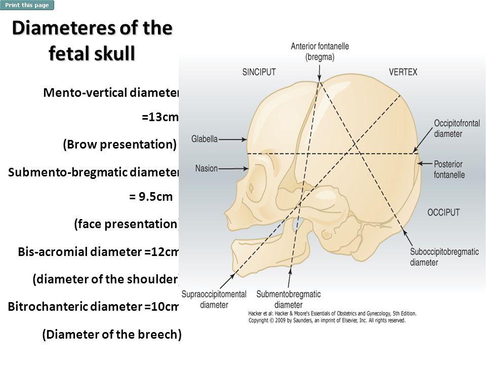 Diameteres of the fetal skull Mento-vertical diameter =13cm (Brow presentation) Submento-bregmatic diameter = 9.5cm (face presentation) Bis-acromial d