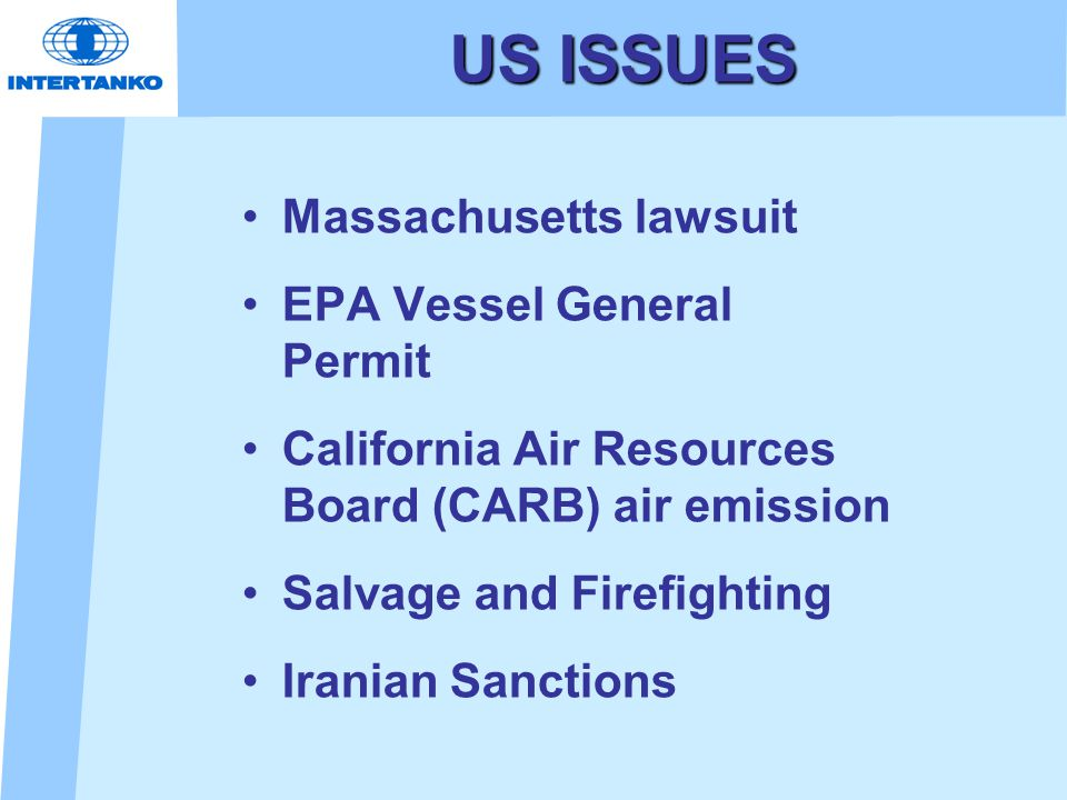 US ISSUES Massachusetts lawsuit EPA Vessel General Permit California Air Resources Board (CARB) air emission Salvage and Firefighting Iranian Sanction