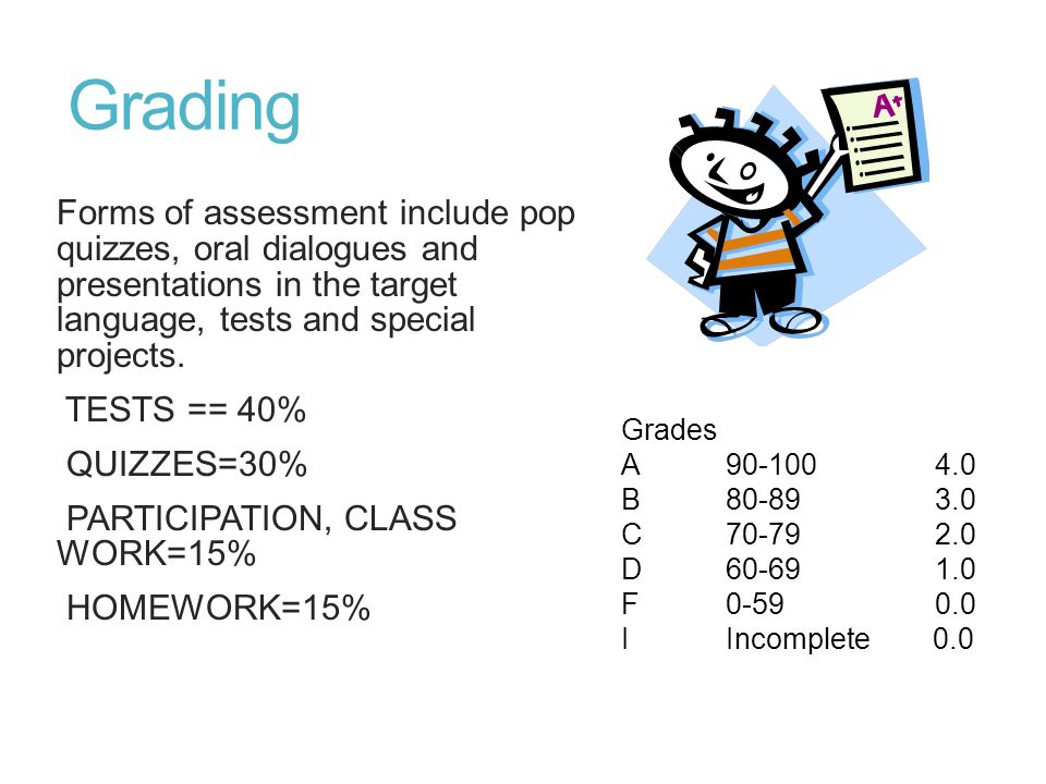Grading Forms of assessment include pop quizzes, oral dialogues and presentations in the target language, tests and special projects.