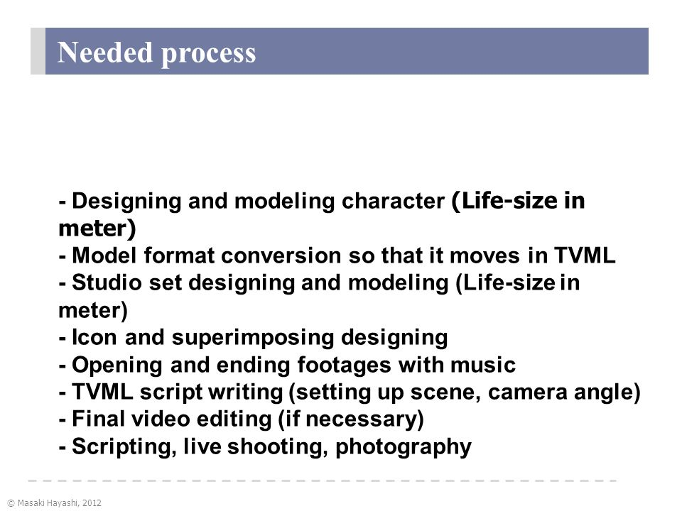 © Masaki Hayashi, 2012 Needed process Making animation of TVML - Designing and modeling character (Life-size in meter) - Model format conversion so that it moves in TVML - Studio set designing and modeling (Life-size in meter) - Icon and superimposing designing - Opening and ending footages with music - TVML script writing (setting up scene, camera angle) - Final video editing (if necessary) - Scripting, live shooting, photography