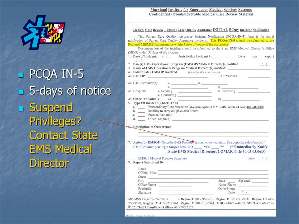 PCQA IN-5 PCQA IN-5 5-days of notice 5-days of notice Suspend Privileges.