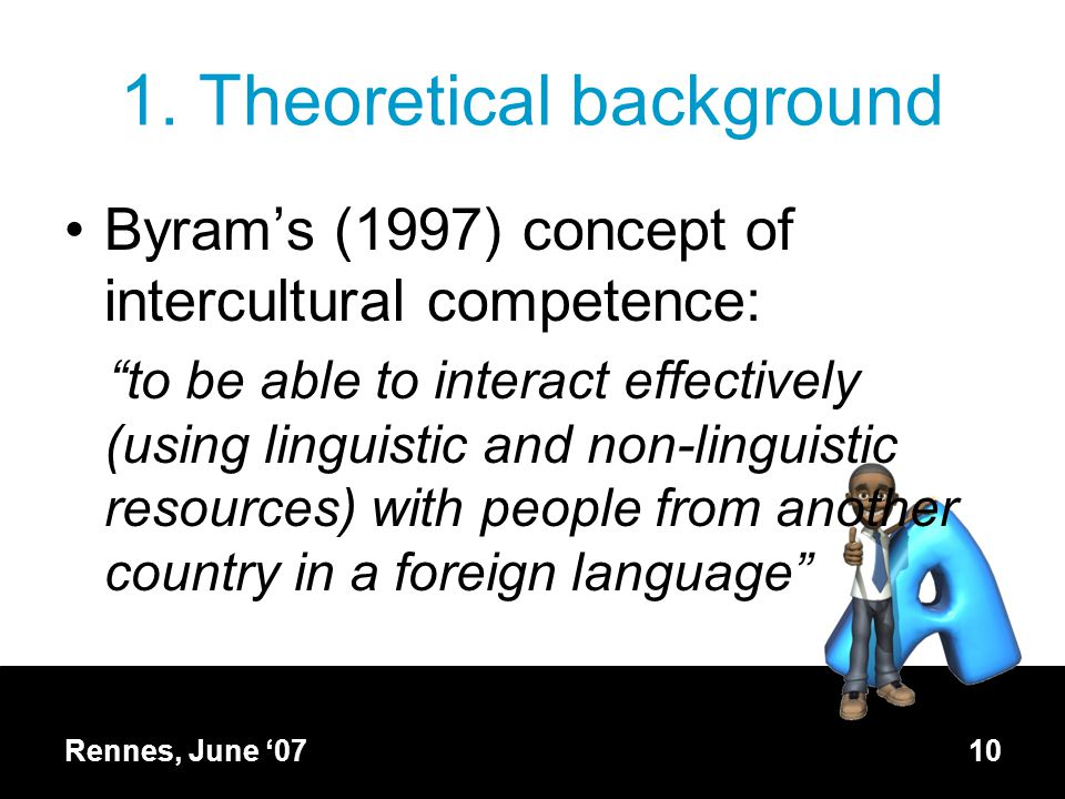 """1. Theoretical background Byram's (1997) concept of intercultural competence: """"to be able to interact effectively (using linguistic and non-linguistic"""