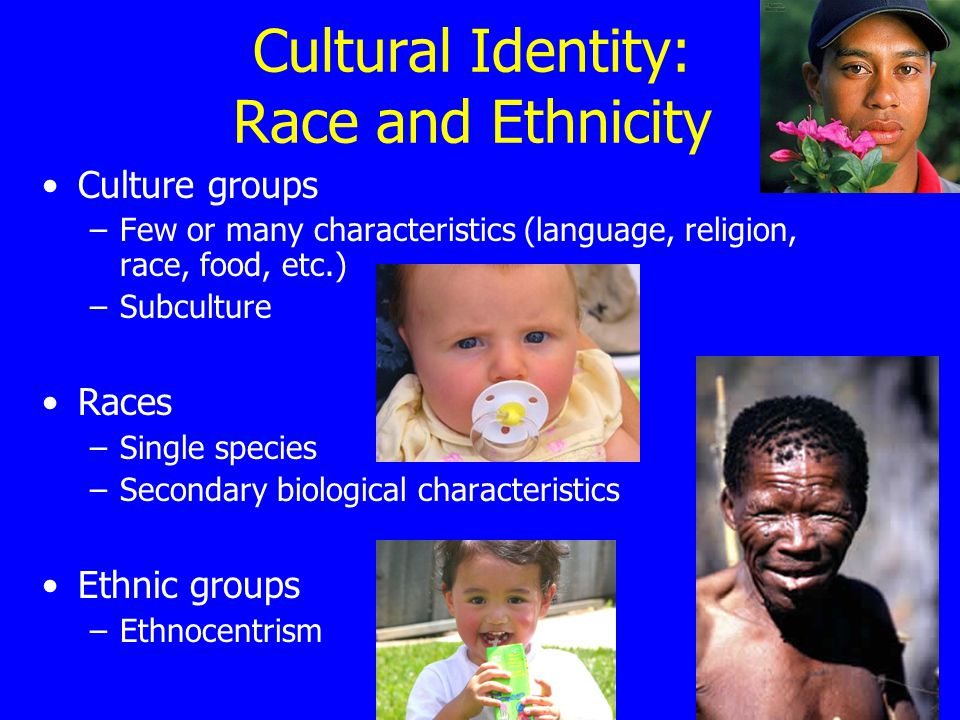 Cultural Identity: Race and Ethnicity Culture groups –Few or many characteristics (language, religion, race, food, etc.) –Subculture Races –Single species –Secondary biological characteristics Ethnic groups –Ethnocentrism
