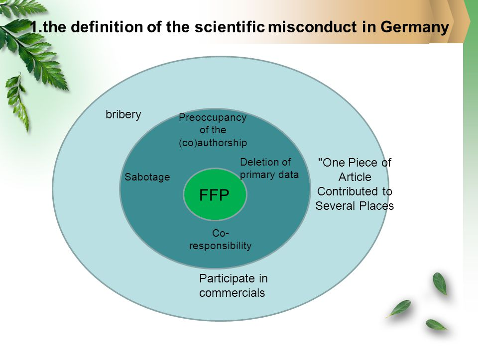 1.the definition of the scientific misconduct in Germany bribery