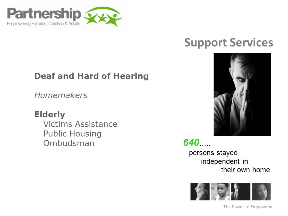 Support Services Deaf and Hard of Hearing Homemakers Elderly Victims Assistance Public Housing Ombudsman The Power to Empower  640 …..