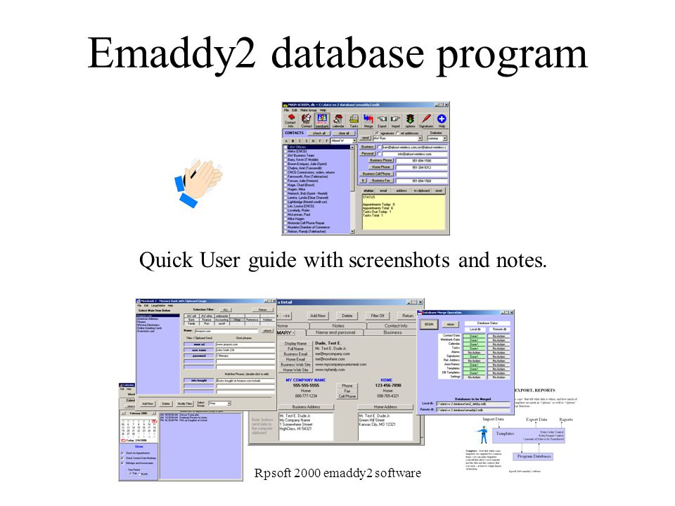 Rpsoft 2000 emaddy2 software Emaddy2 database program Quick User guide with screenshots and notes.