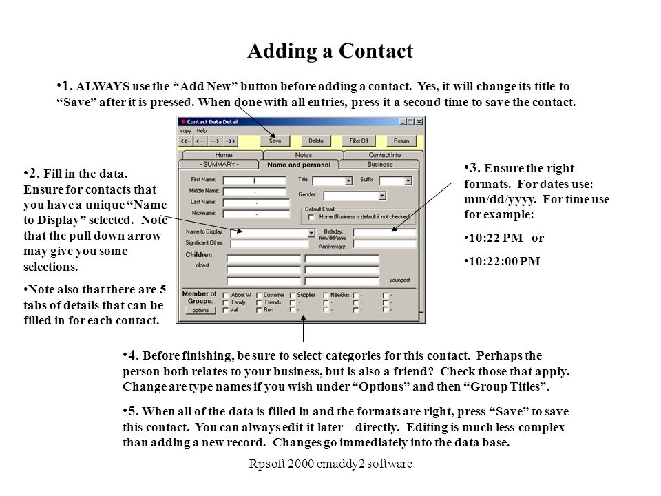 Rpsoft 2000 emaddy2 software Adding a Contact 1.