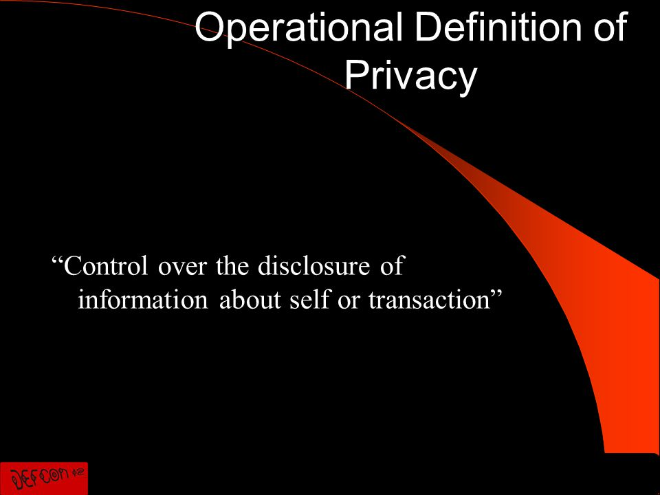 Operational Definition of Privacy Control over the disclosure of information about self or transaction