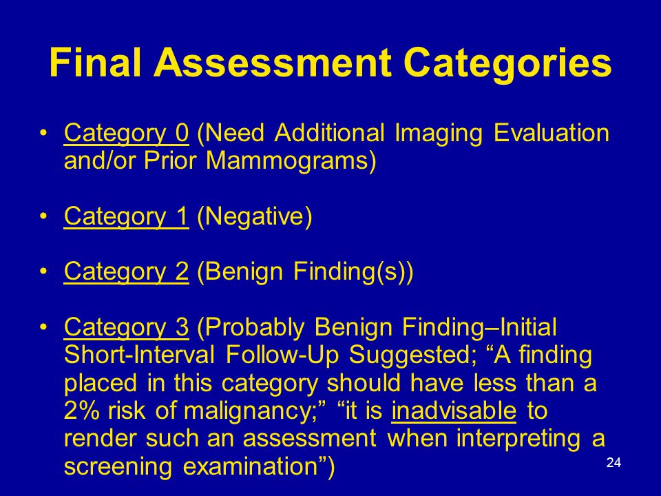 24 Final Assessment Categories Category 0 (Need Additional Imaging Evaluation and/or Prior Mammograms) Category 1 (Negative) Category 2 (Benign Finding(s)) Category 3 (Probably Benign Finding–Initial Short-Interval Follow-Up Suggested; A finding placed in this category should have less than a 2% risk of malignancy; it is inadvisable to render such an assessment when interpreting a screening examination )