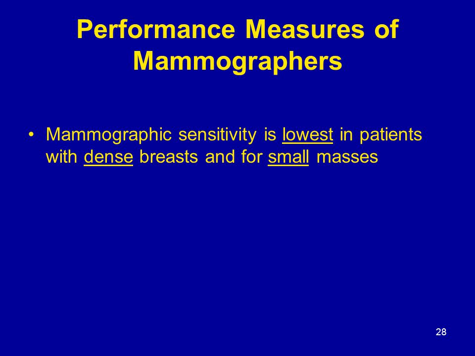 28 Performance Measures of Mammographers Mammographic sensitivity is lowest in patients with dense breasts and for small masses