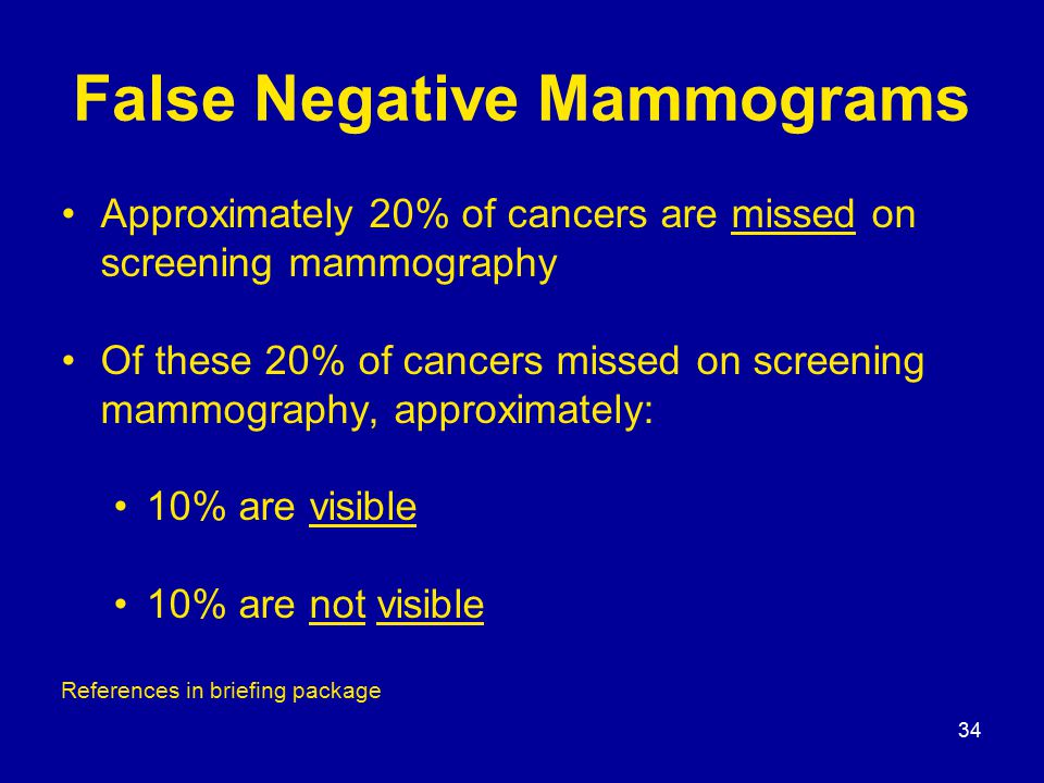34 False Negative Mammograms Approximately 20% of cancers are missed on screening mammography Of these 20% of cancers missed on screening mammography, approximately: 10% are visible 10% are not visible References in briefing package
