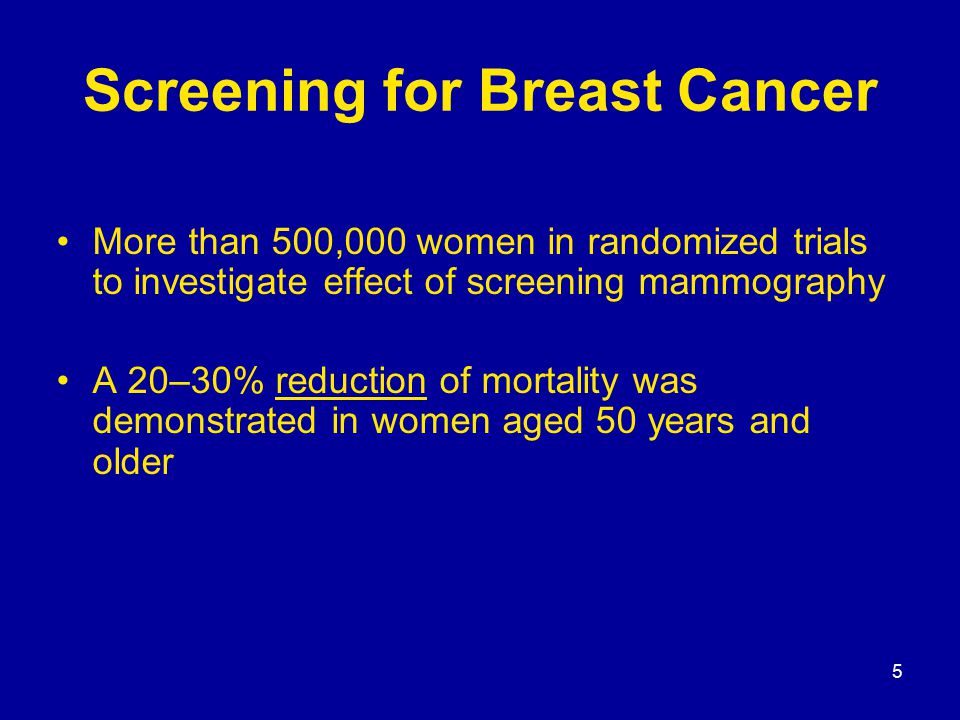 5 Screening for Breast Cancer More than 500,000 women in randomized trials to investigate effect of screening mammography A 20–30% reduction of mortality was demonstrated in women aged 50 years and older