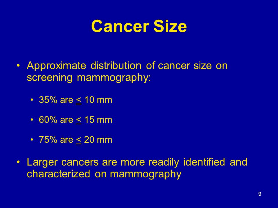 9 Cancer Size Approximate distribution of cancer size on screening mammography: 35% are < 10 mm 60% are < 15 mm 75% are < 20 mm Larger cancers are mor