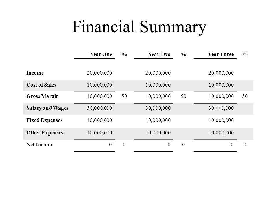 Financial Summary Year One%Year Two%Year Three% Income20,000,000 Cost of Sales10,000,000 Gross Margin10,000,0005010,000,0005010,000,00050 Salary and Wages30,000,000 Fixed Expenses10,000,000 Other Expenses10,000,000 Net Income000000