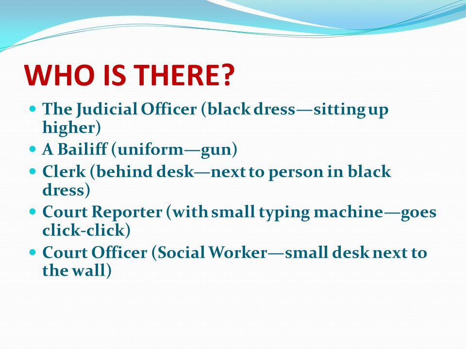 WHO IS THERE? The Judicial Officer (black dress—sitting up higher) A Bailiff (uniform—gun) Clerk (behind desk—next to person in black dress) Court Rep