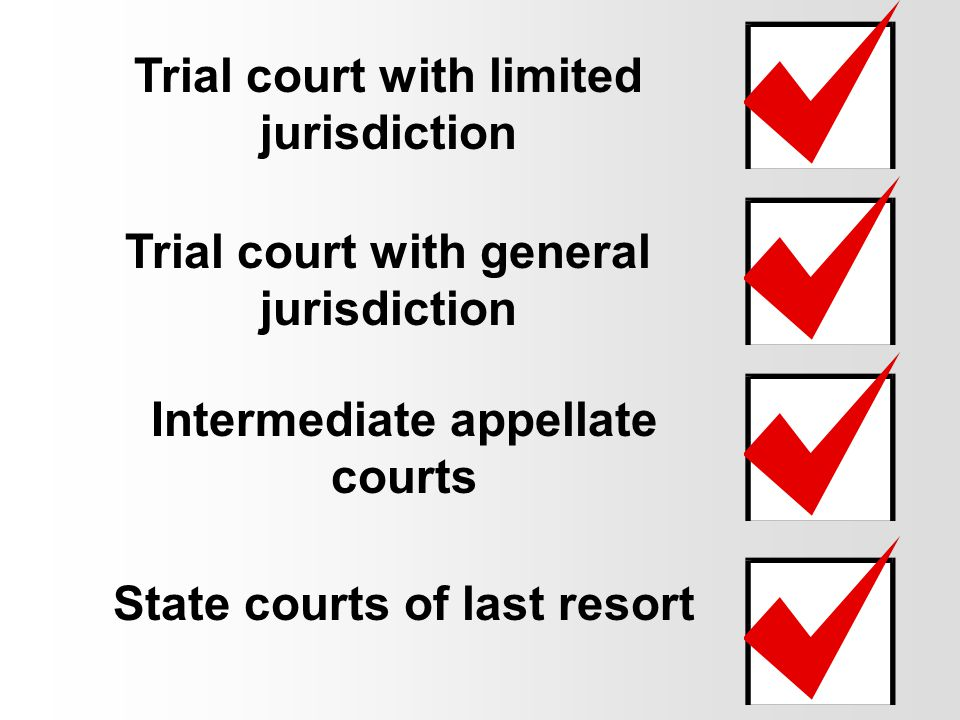 system is different state to state, no two are alike usually divided into four levels State Courts