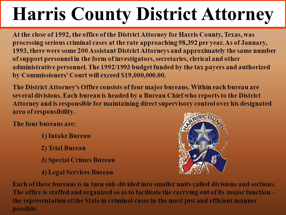 The District Attorney' Office represents the State in all criminal cases that arise anywhere in the County. The only exceptions are low grade misdemea