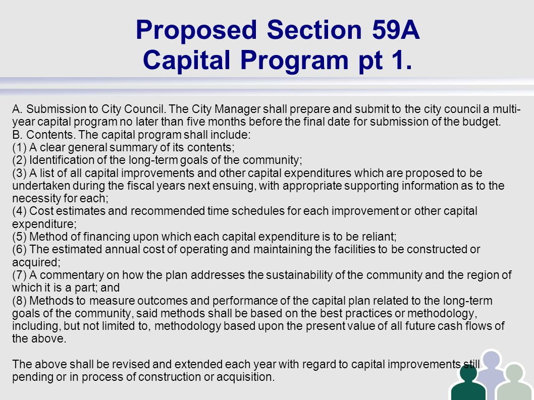Proposed Section 59A Capital Program pt 1. A. Submission to City Council.