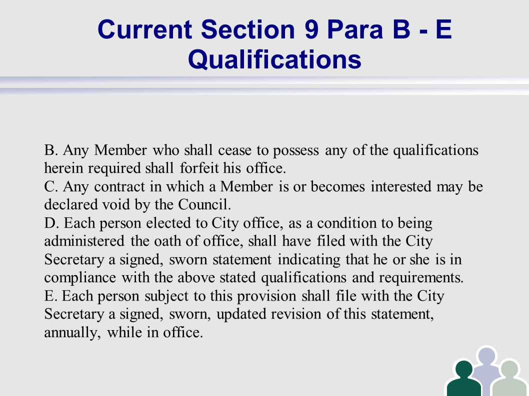 Current Section 9 Para B - E Qualifications B.