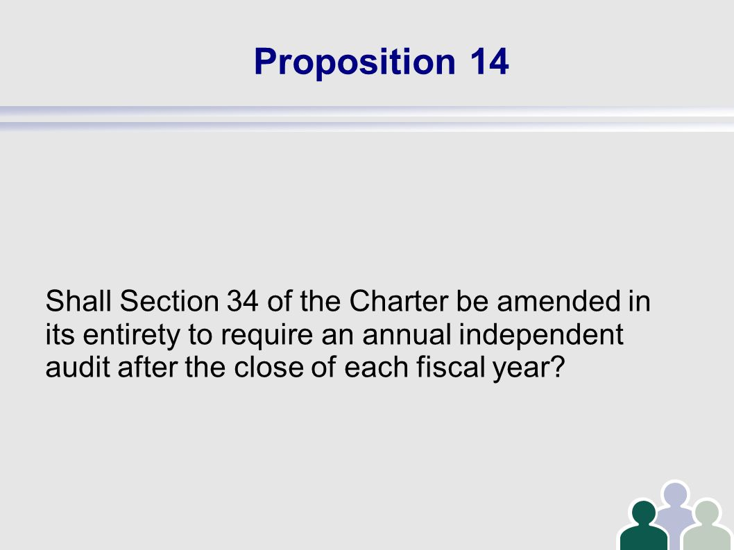 Proposition 14 Shall Section 34 of the Charter be amended in its entirety to require an annual independent audit after the close of each fiscal year