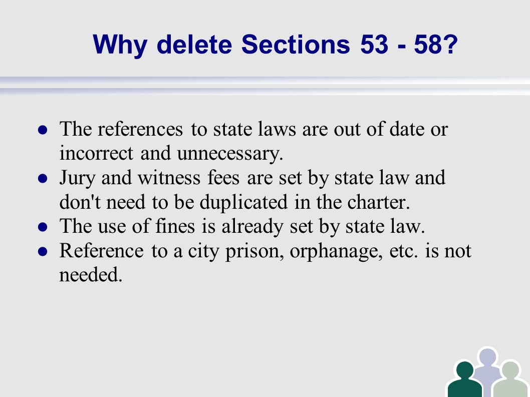 Why delete Sections 53 - 58.