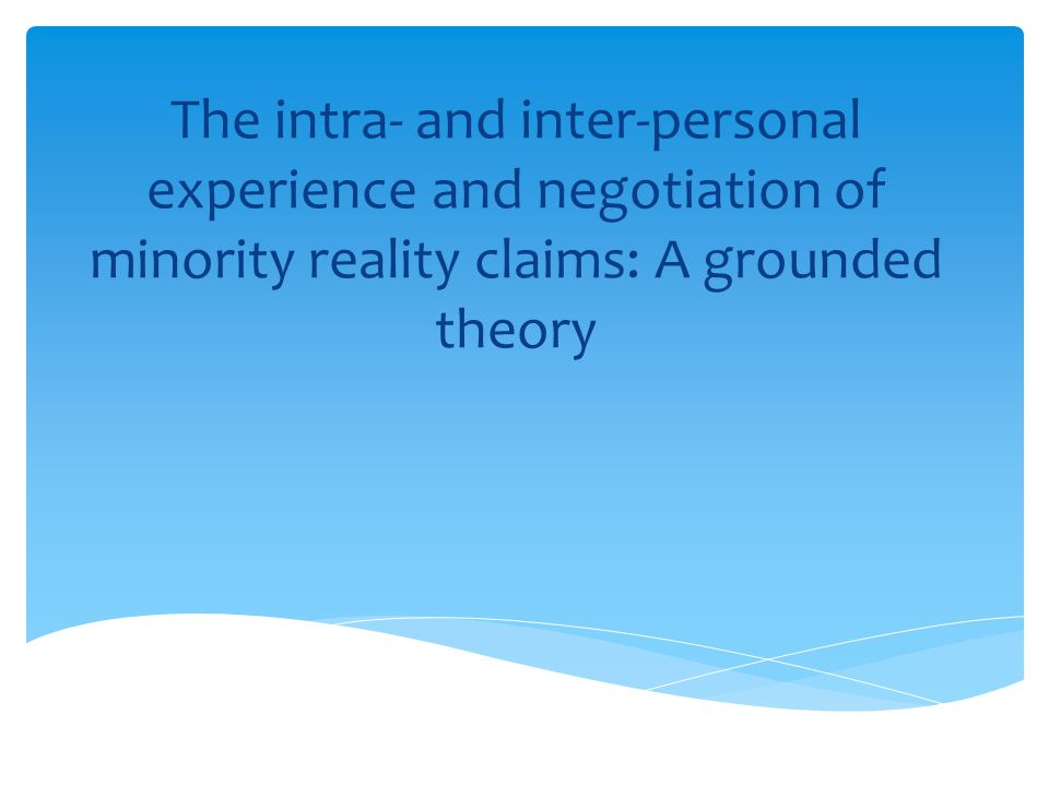 The intra- and inter-personal experience and negotiation of minority reality claims: A grounded theory